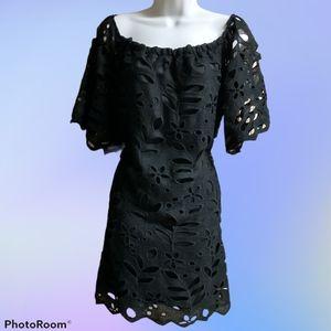 YOINS Black Crochet Lace Off Shoulder Dress EUC